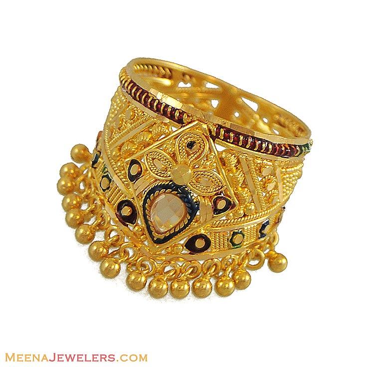 Gold Kangan With Enamel Work   Bangle, India jewelry and Gold ...