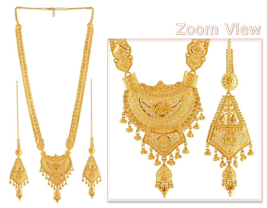 22k Gold Indian Bridal Patta Set - StBr4420