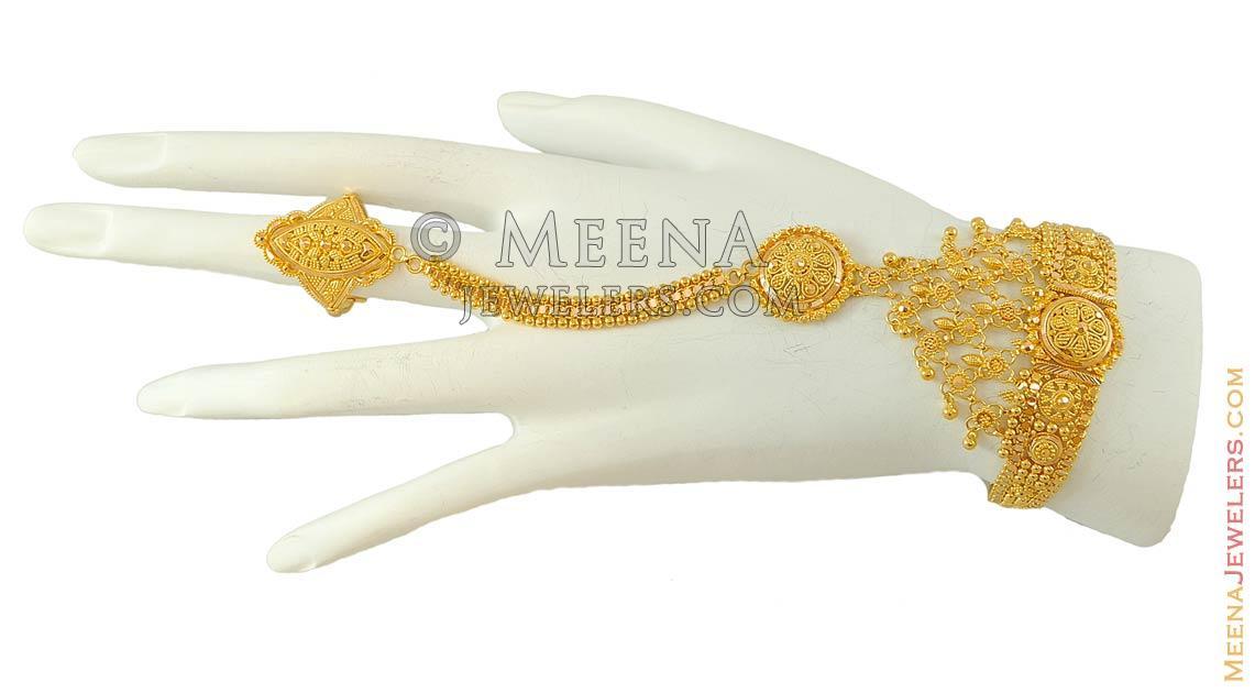 b00a32aa65b12 22k Designer Bridal Bracelet(Panja) - BrLa7257 - 22k gold bridal ...