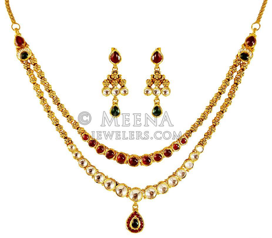 Kundan Jewelry Set: 22kt Gold Layered Kundan Set