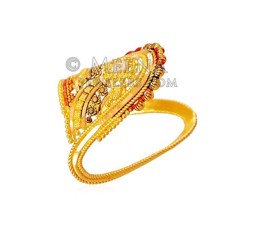 22K Gold Vanki Ring - RiLg18441 - 22K Gold Ring designed ...