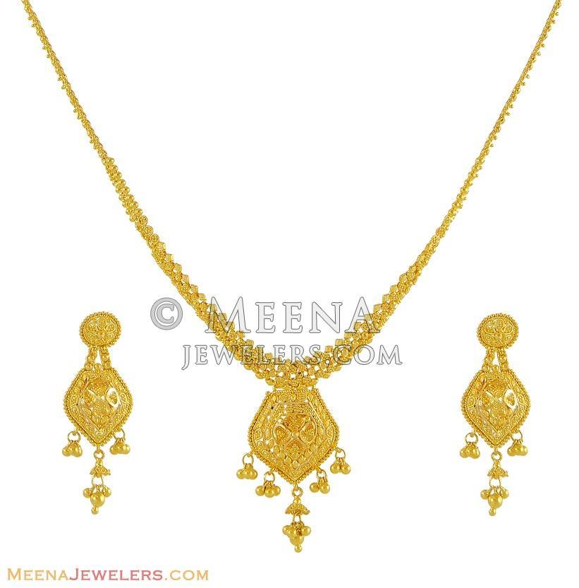 designer gold necklace set stgo8802 22kt yellow gold