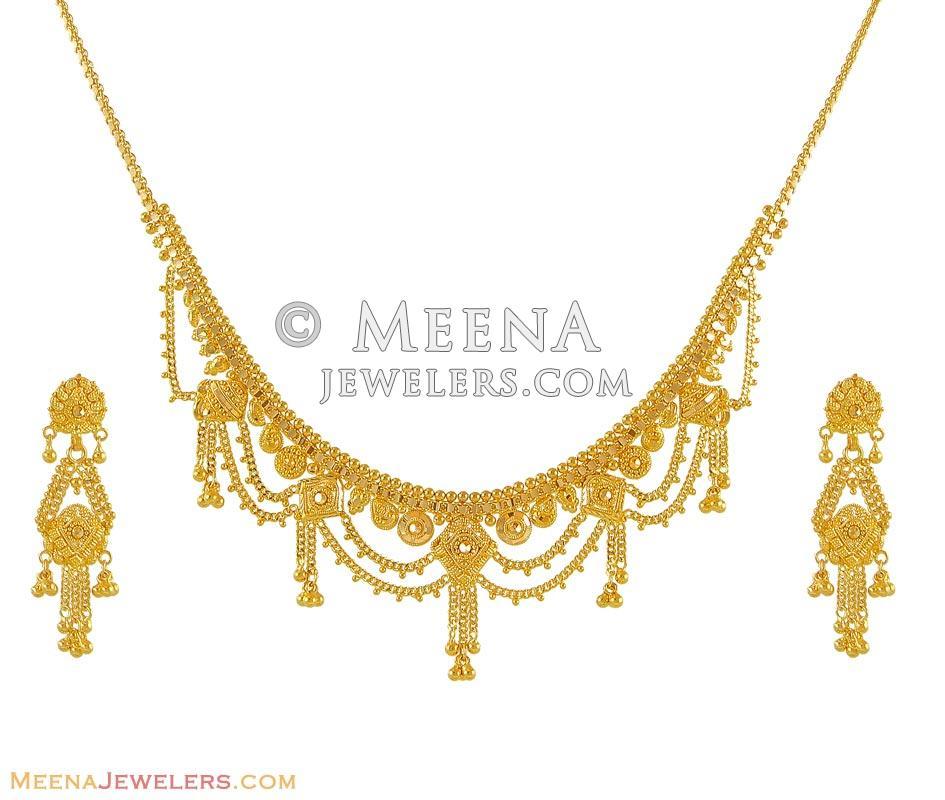 Indian Gold Necklace Set: Indian Gold Necklace Set